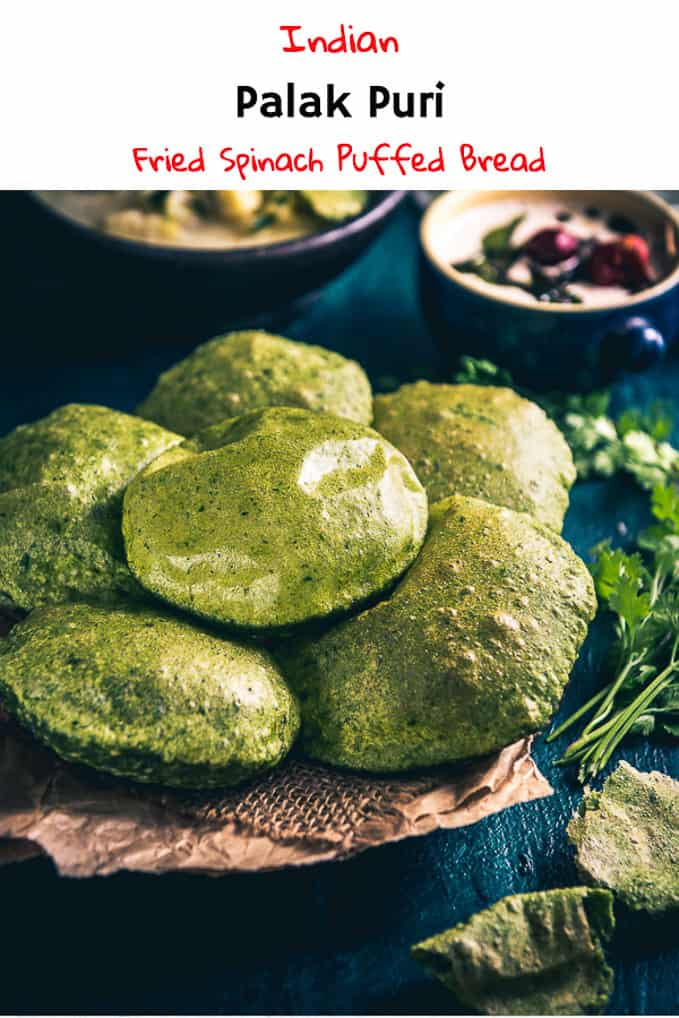 Palak Puri is a healthy and colourful variation of usual Puri. It can eaten as it is and you could even serve it with a sabzi for breakfast. Here is how to make it. #Indian #Bread #Recipe #Spinach
