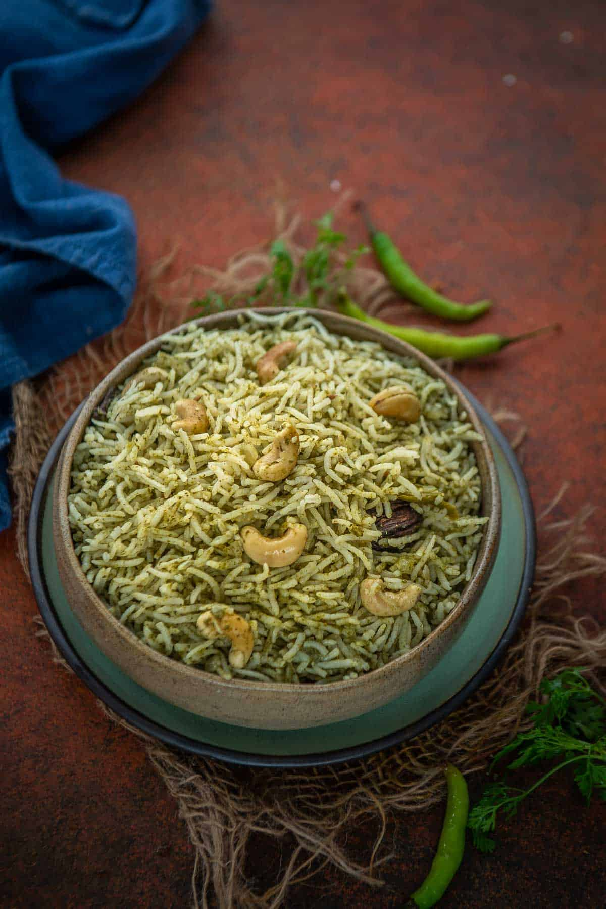 Palak Rice served in a bowl.