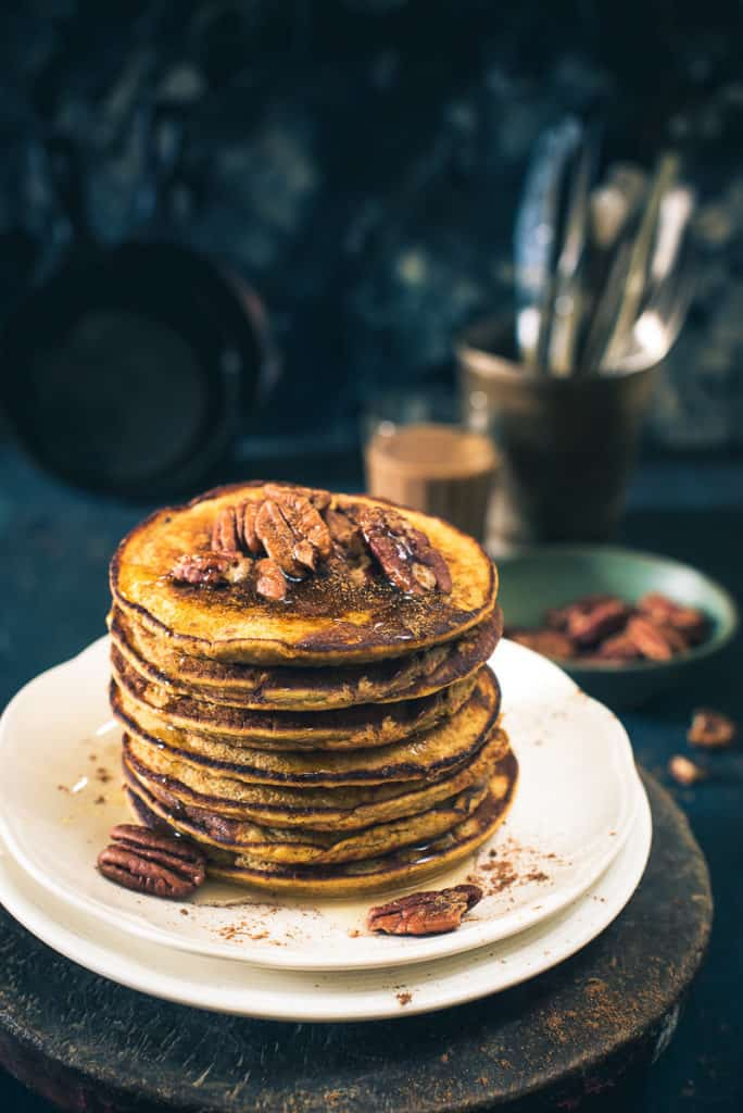 Pumpkin Pie Pancakes turn not only decadent but the blend of pumpkin, honey, wheat flour along with maple syrup grants it all new pack of flavours.