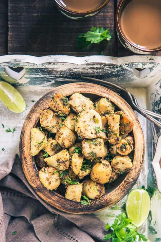 Farali Arbi Fry recipe is a mix of boiled, diced Arbi which is sauteed with a gentle coat of green chilli, ajwain, amchoor powder, fresh coriander et al.