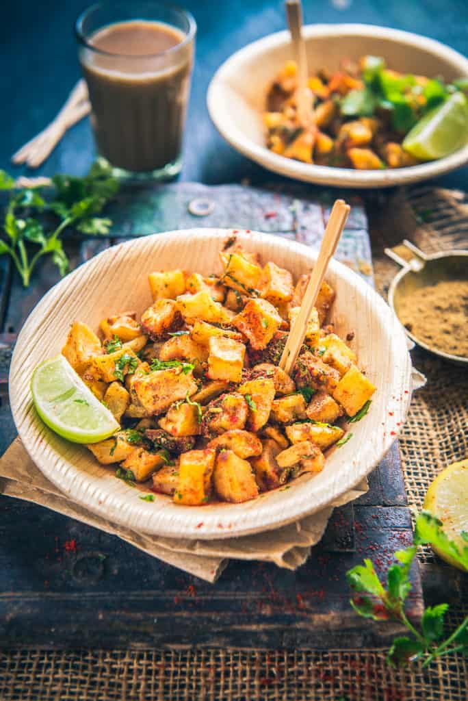 Farali Aloo Chaat Recipe is assembled by frying potato dices till they turn crisp and they are tossed with toothsome spices. Serve it hot.