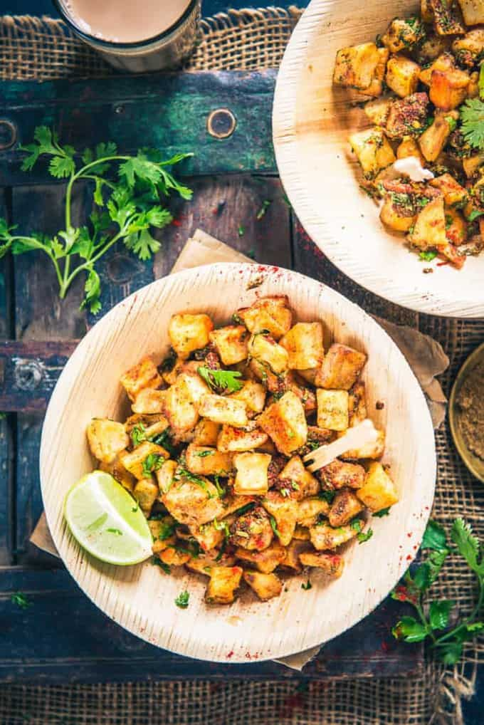 Here is a collection of best Indian Home made chaat recipes which can be easily made at home and the result is perfect, just like your street chaat wala. Farali Aloo Chaat is assembled by frying potato dices till they turn crisp and they are tossed with toothsome spices. Serve it hot.