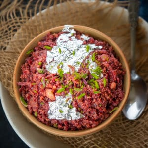 Indian Beetroot Halwa is a unique dessert/sweet filled with the nutrition of Beetroot, Khoya, Milk and Dry fruits. Serve it piping hot and beat all the stress!