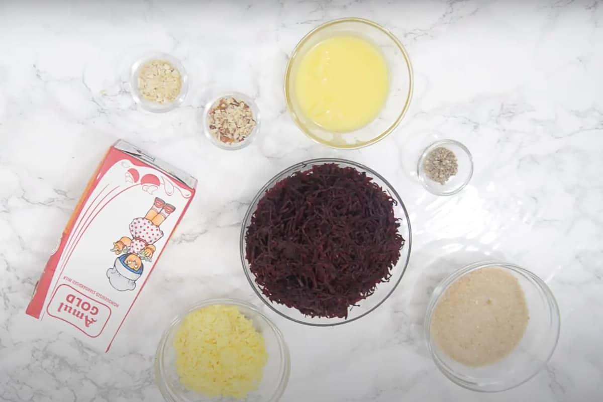 Beetroot Halwa ingredients.