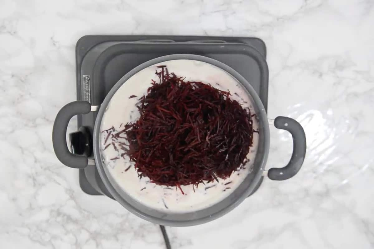 Grated beetroot added in the pan.
