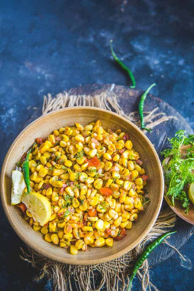 Corn Chaat served in a plate.