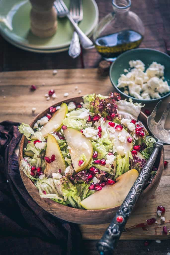 Pear Pomegranate Salad is a healthy and filling salad recipe and is perfect to make during falls when best pears are in season.