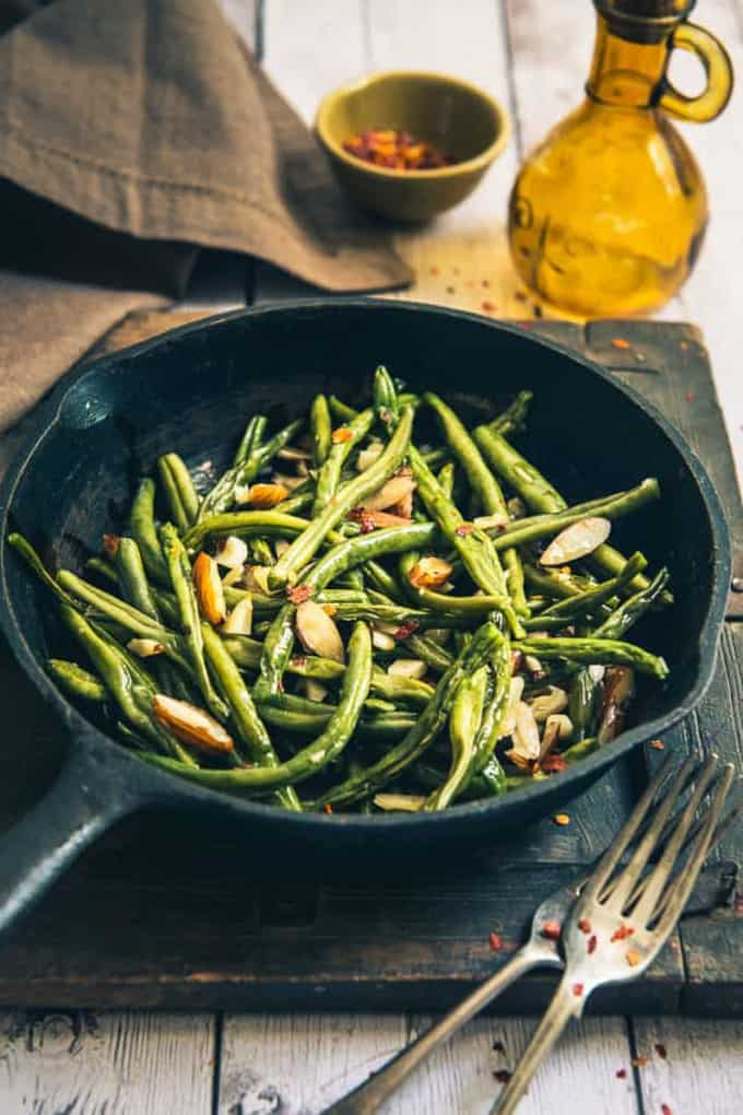 ... green beans, butter, olive oil, almonds and a dash of garlic. Read its