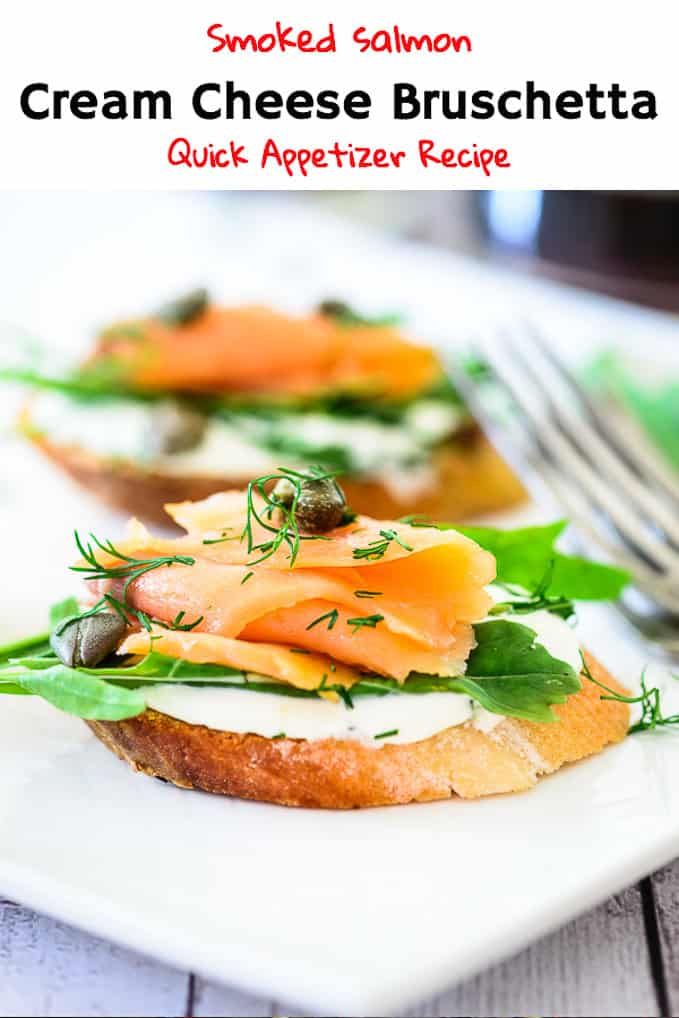 Smoked Salmon Cream Cheese Bruschetta is a wonderful finger food prepared by topping baguette with smoked salmon, herbs, cream cheese, rocket leaves. Here is simple recipe to make it. #Appetizer #Salmon #Fish #Seafood