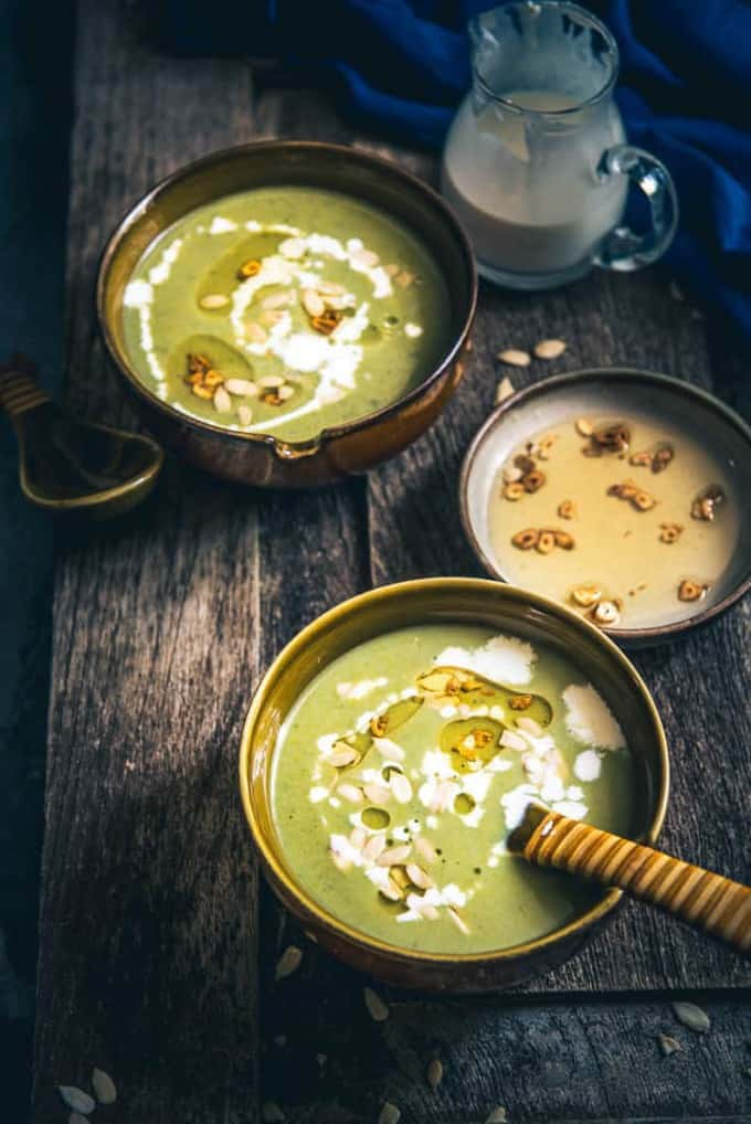 Burnt Garlic Broccoli Soup has this amazing blend of a salubrious vegetable like broccoli and the life changing flavours of olive oil, garlic, onions et al.