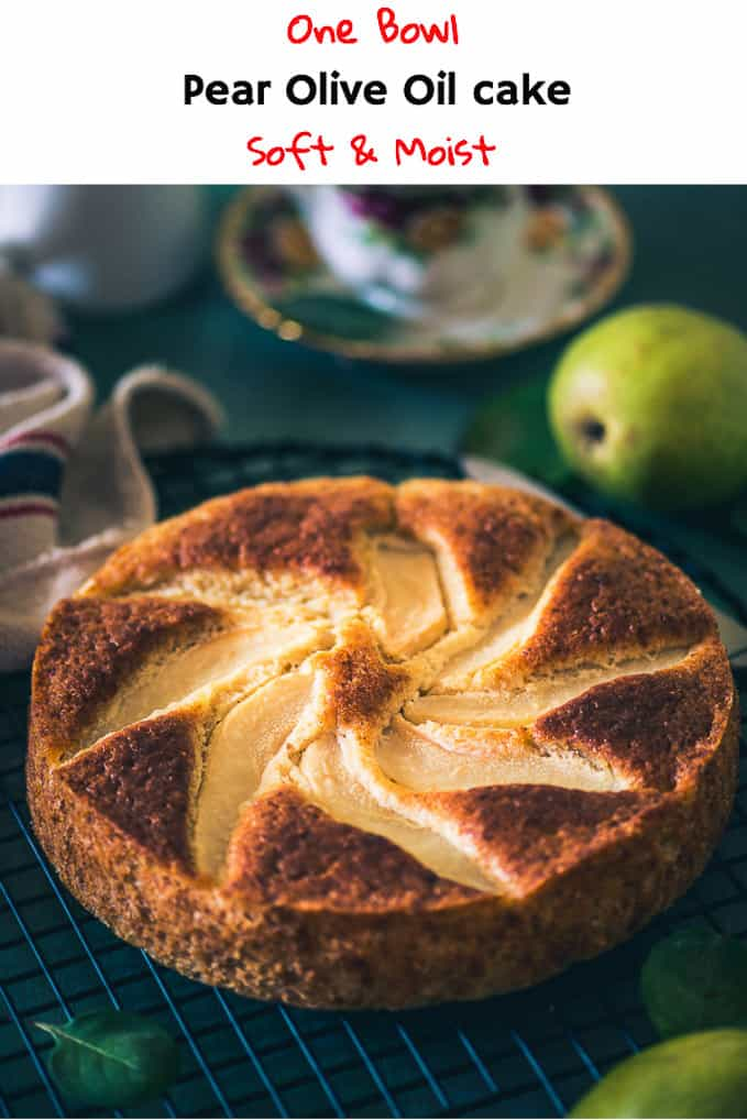 Tender, aromatic and decadent, Pear Olive Oil Cake can be served for high tea along with your choice of beverage and selected, quality conversations. Here is a simple recipe to make soft and moist pear olive oil cake. #Cake #Dessert #Pear #Recipe #Onebowl