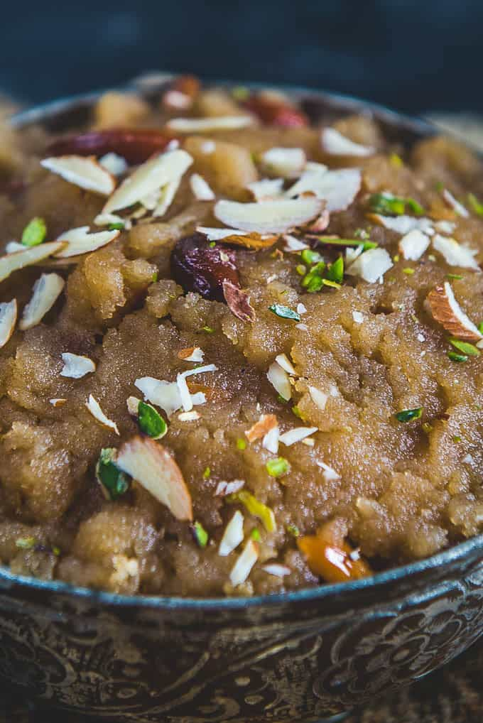 Close up shot of aate ka halwa recipe.