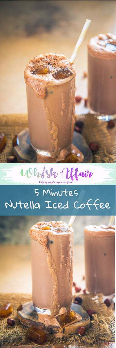 Nutella Iced Coffee is a soothing combination of coffee, Nutella, milk and all things good! It is super chilled, chocolaty, milkish and delicious. Here is how to make it. #Coffee #CoffeeRecipes #Nutella #NutellaRecipes #SummerDrink #DrinkRecipe #BeverageRecipe
