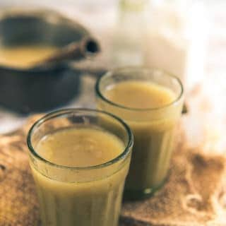 Gujarati Bajre ki Raab is a warm, soothing soup made using bajra flour, dry ginger powder, jaggery, ajwain and loads of ghee in Rajasthan and Gujarat.