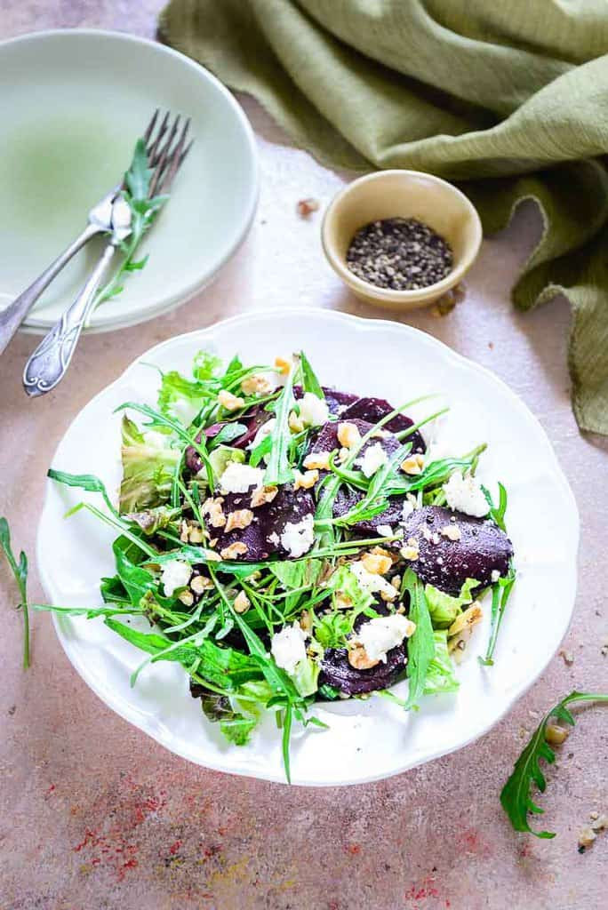 Top view of Balsamic Beet Salad in a white salad plate