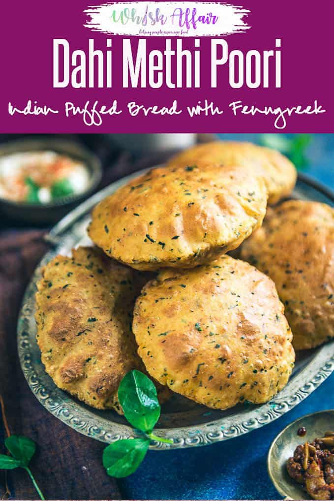 Combined with the goodness of fresh methi leaves, ajwain, curd and basic spices, Dahi Methi Poori turns out as a clear winner during any meal. #Indian #IndianRecipes #IndianBreads #Fenugreek #FenugreekRecipes #IndianBreadRecipes
