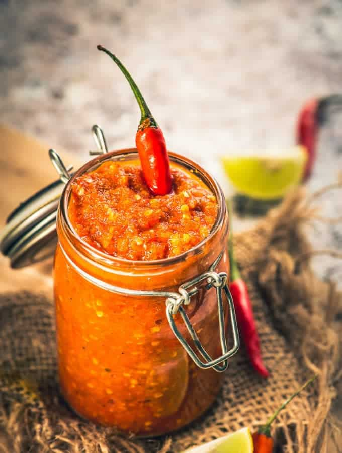 Used both for marination, seasoning and also as an accompaniment, Homemade Peri Peri Sauce is a classic, pungent side that would warm up the winter for you!