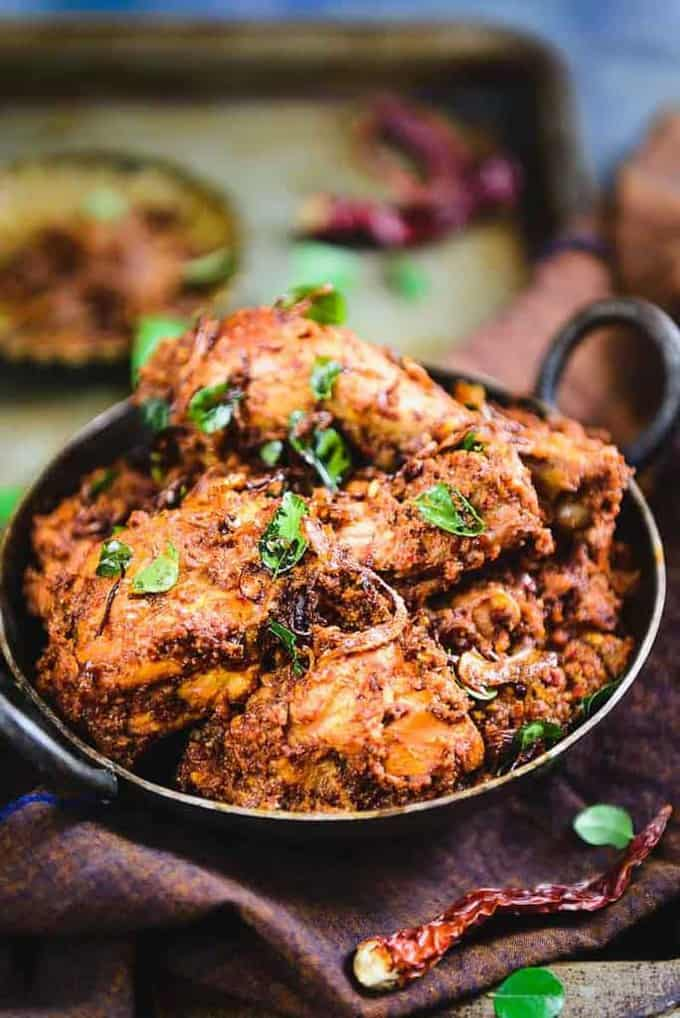 Mangalorean Chicken Sukka served in a pan
