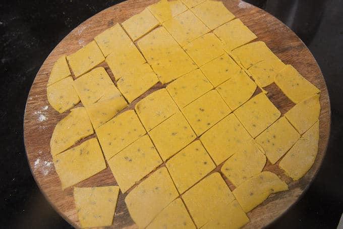 Chapati cut into pieces.