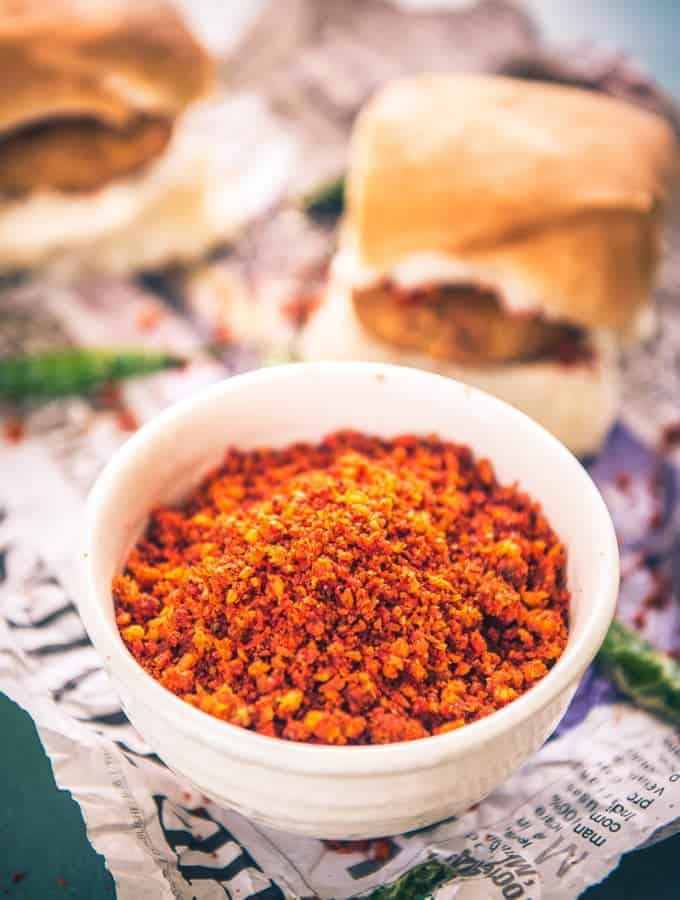 Maharashtrian Coconut Garlic Chutney is the secret to take your vada pav to a next level.Here is a traditional recipe to make it.