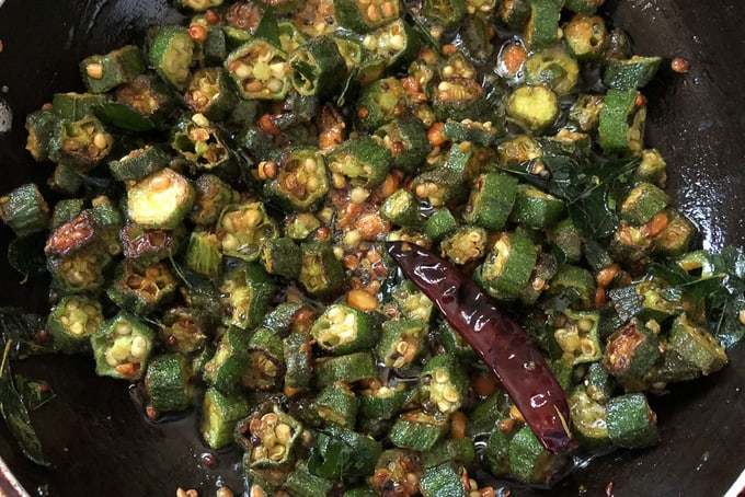 Bhindi cooked until crispy.