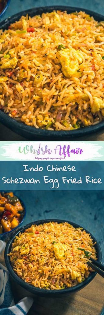 Spicy Indo Chinese Schezwan Egg Fried Rice Recipe is a delicious Chinese style spicy rice preparation which is very easy to make at home. #IndoChinese #RiceDish #Rice Recipe