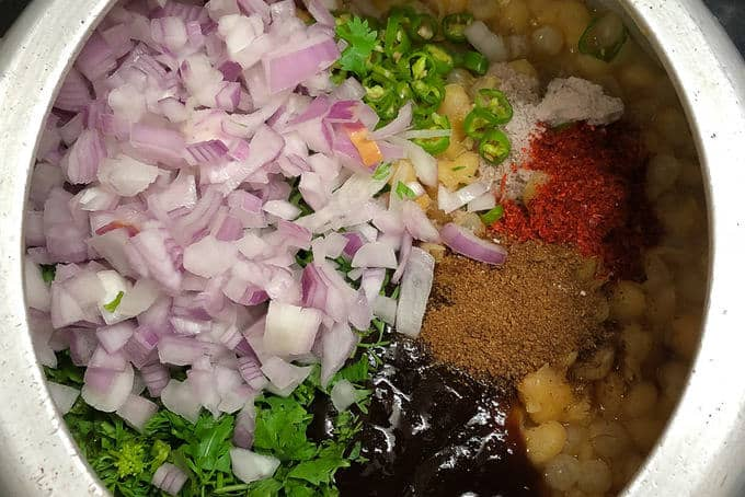 All the ingredients added in cooked matar.