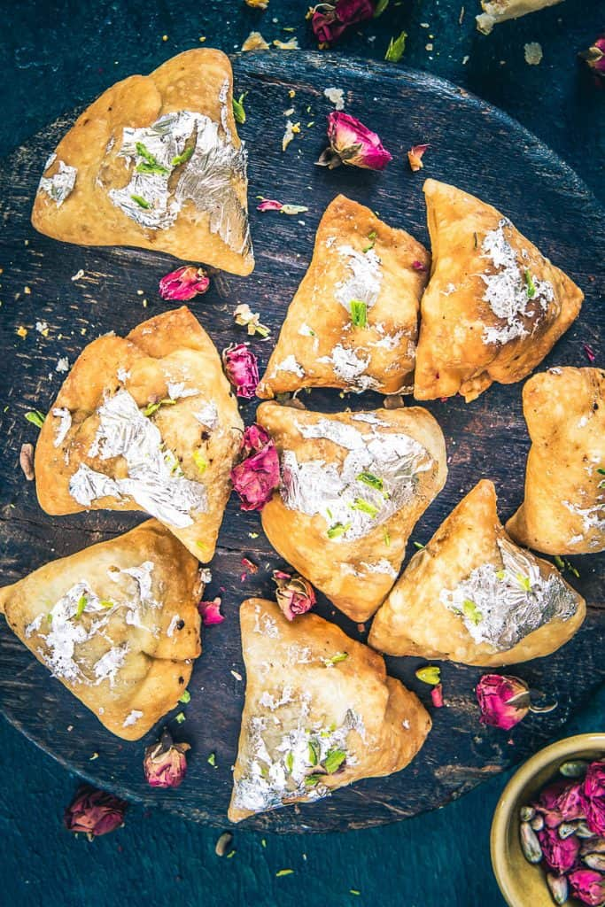Mawa Samosa or Khoya Samosa is a delightful Indian dessert which is served during festivals and even on auspicious occasions.