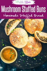 Indo Chinese Mushroom Stuffed Buns is a delicious Chinese flavoured bread recipe which is perfect to serve as evening snacks. #MushroomRecipes #IndoChineseRecipes #BreadRecipes