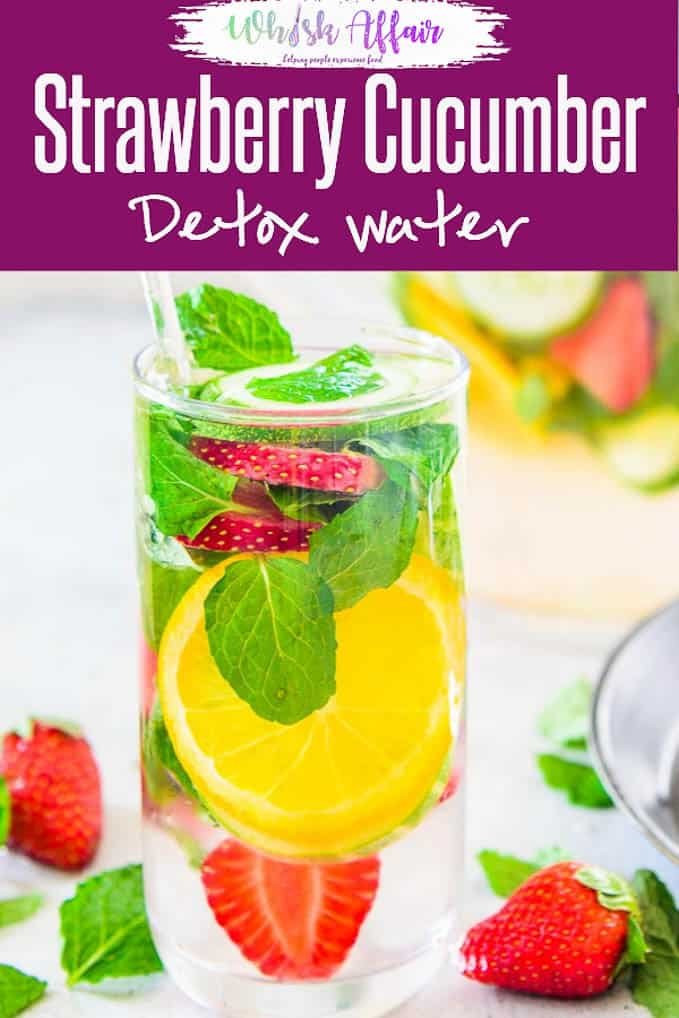 Strawberry Cucumber Detox Water not only helps maintain your health but also has beauty benefits as it detoxifies your body. #Healthy #Detox #Water #Flavoured #Summer #Cooler #Drink #Beverage
