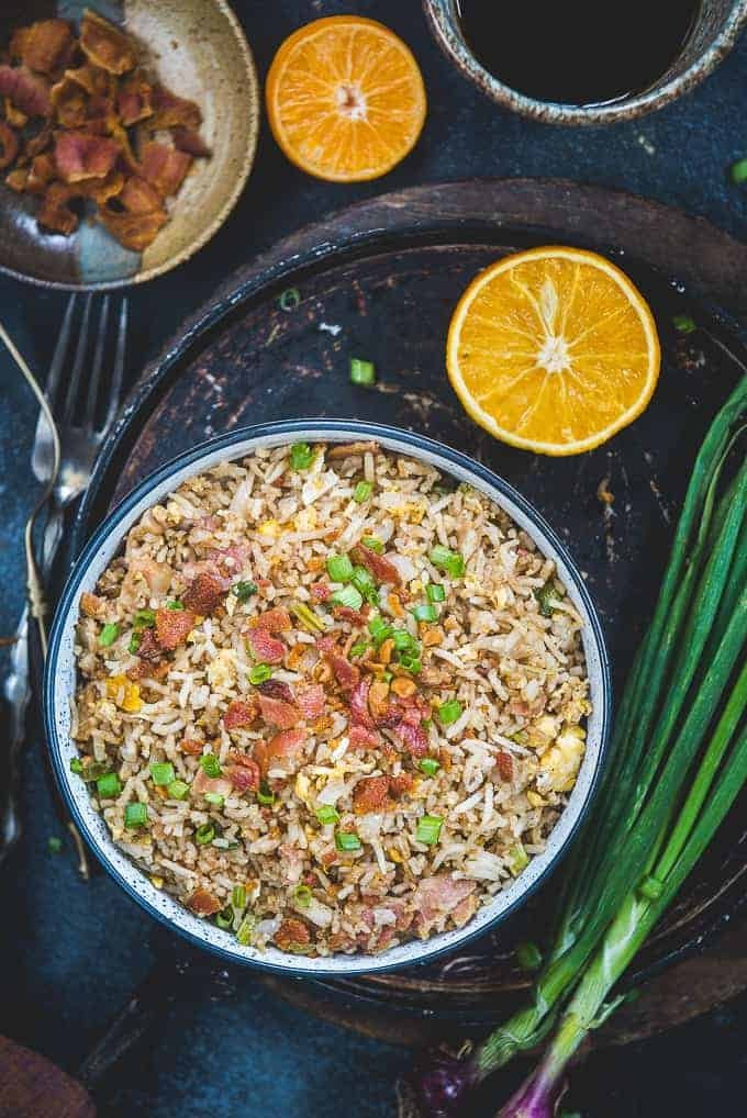 Bacon fried rice served in a bowl.