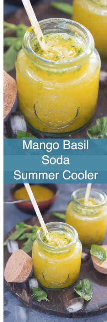 Mango Basil Soda unlike the usual coolers is fuzzy and loaded with ripe pieces of mango which is nicely concocted with basil, sugar, soda and ice-cubes!