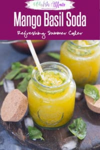 Mango Basil Soda unlike the usual coolers is fuzzy and loaded with ripe pieces of mango which is nicely concocted with basil, sugar, soda and ice-cubes! Drink I Beverage I Mango I Recipe I Summer Cooler I Summer Drink I Vegan I Gluten Free