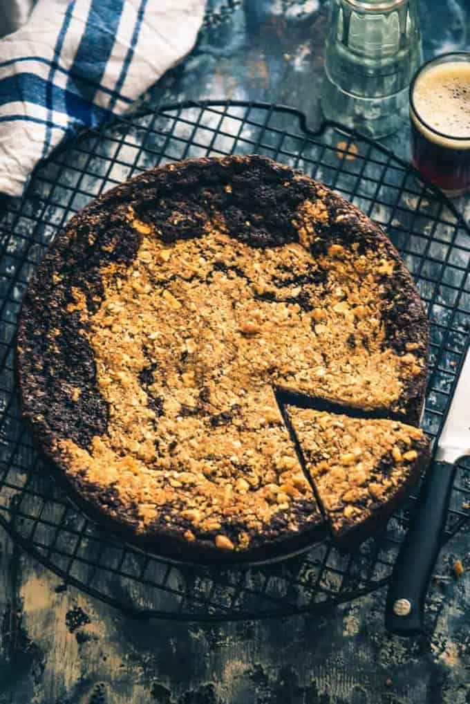 Step By Step Easy Chocolate Mocha Coffee Cake Recipe with Walnut Streusel Topping