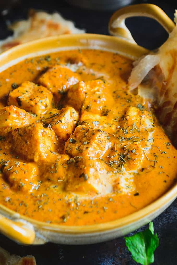 Close up shot of recipe of paneer butter masala.