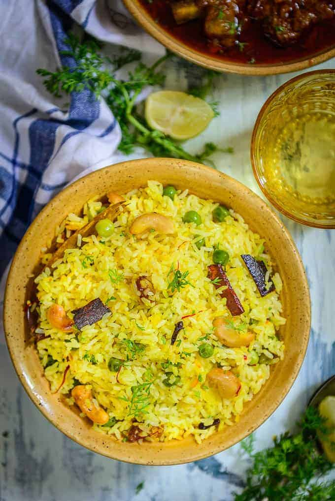 Mishti Pulao served in a bowl.