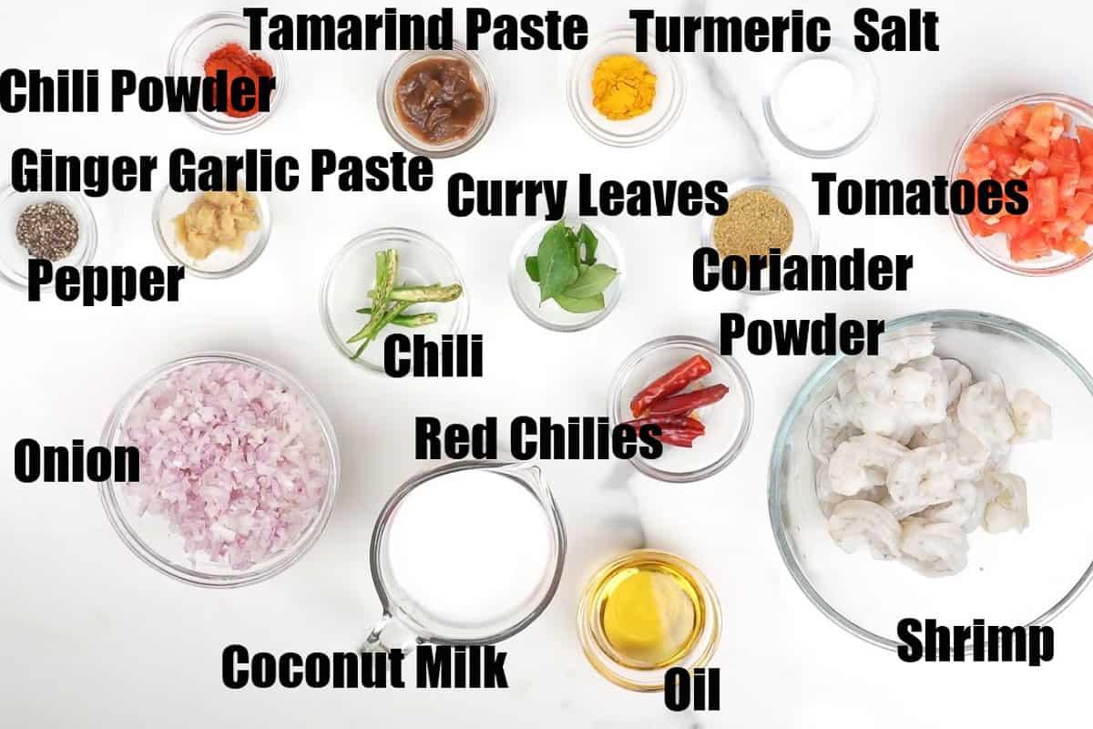 Coconut curry shrimp ingredients.
