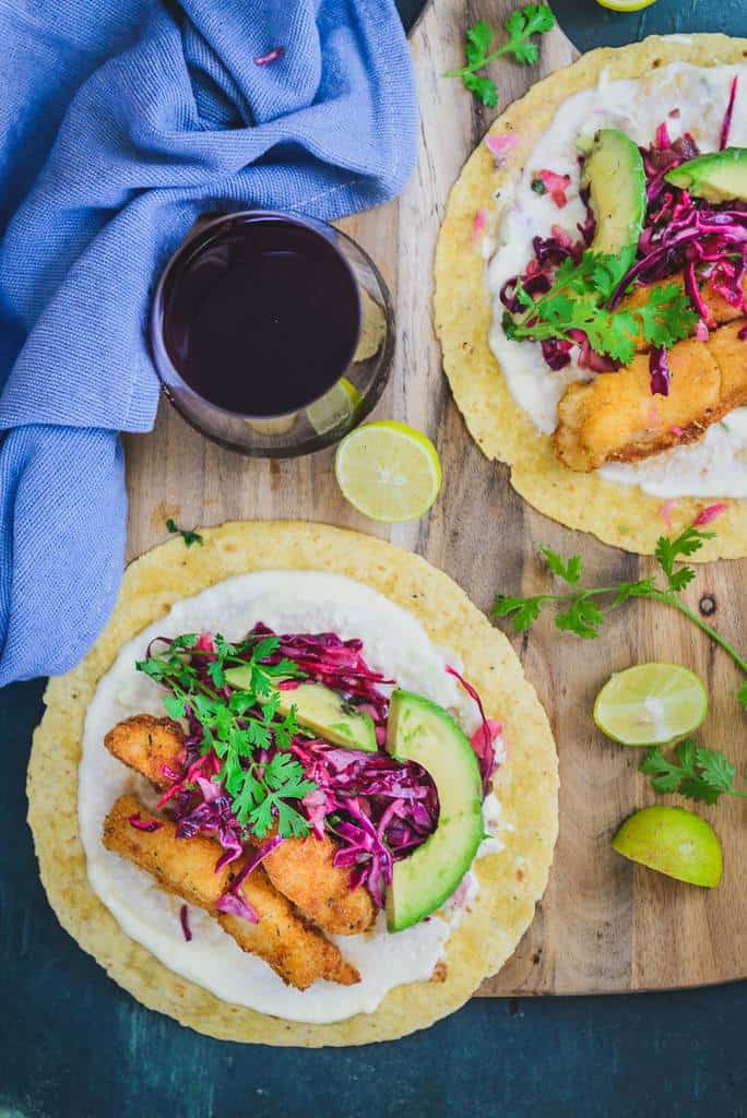 Crispy Fish Tacos with Cabbage Slaw, Fish tacos recipe, fried fish taco recipe, fish taco slaw recipe, battered fish tacos, best fish tacos, baja fish taco recipe, mexican fish tacos