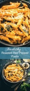 Garlicky Roasted Red Pepper Pasta is a delicious creamy Pasta full of the pungent flavour of garlic with the lovely charred flavour of the red bell peppers. Italian I pasta I Healthy I easy I Simple I quick I Perfect I Homemade I