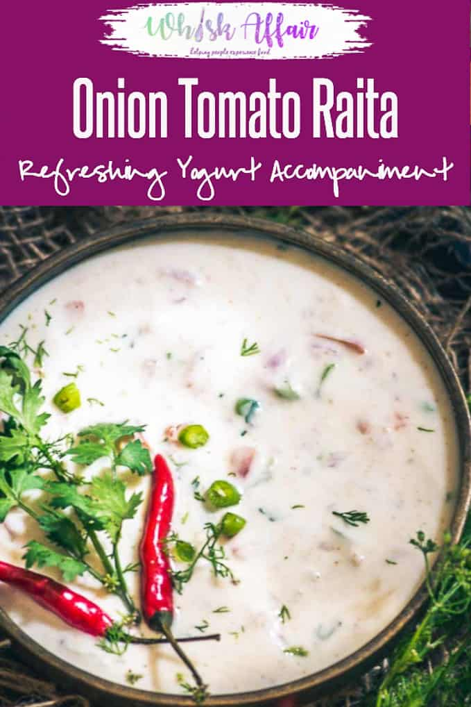 A refreshingly good way to beat the Indian summers, the coolness of curd coupled with the freshness of the vegetables makes this Tomato Onion raita simply divine. Indian I Accompaniment I Curd I Yogurt I Onion I Tomato I Vegetarian I Gluten Free I Recipe I Food I Homemade #Indian #Recipes #Raita