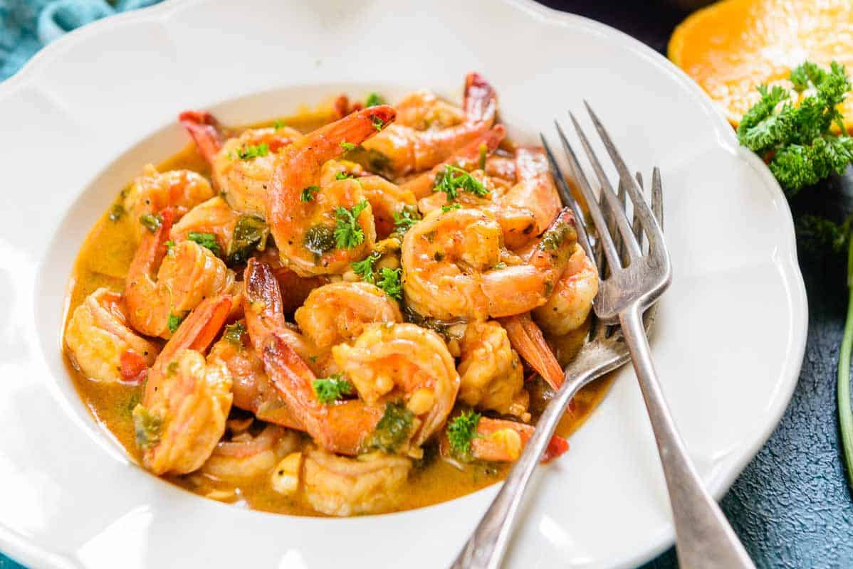 Dietary prawns with saffron and orange juice 78