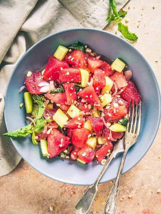 thai watermelon salad, asian watermelon salad recipe, asian style watermelon salad, watermelon salad nigella lawson, watermelon salad dressing