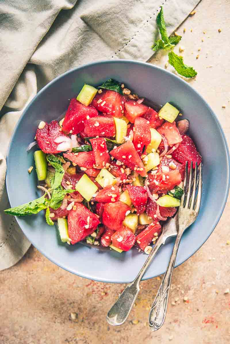 thai watermelon salad, asian watermelon salad recipe, asian style watermelon salad, watermelon salad nigella lawson, watermelon salad dressing