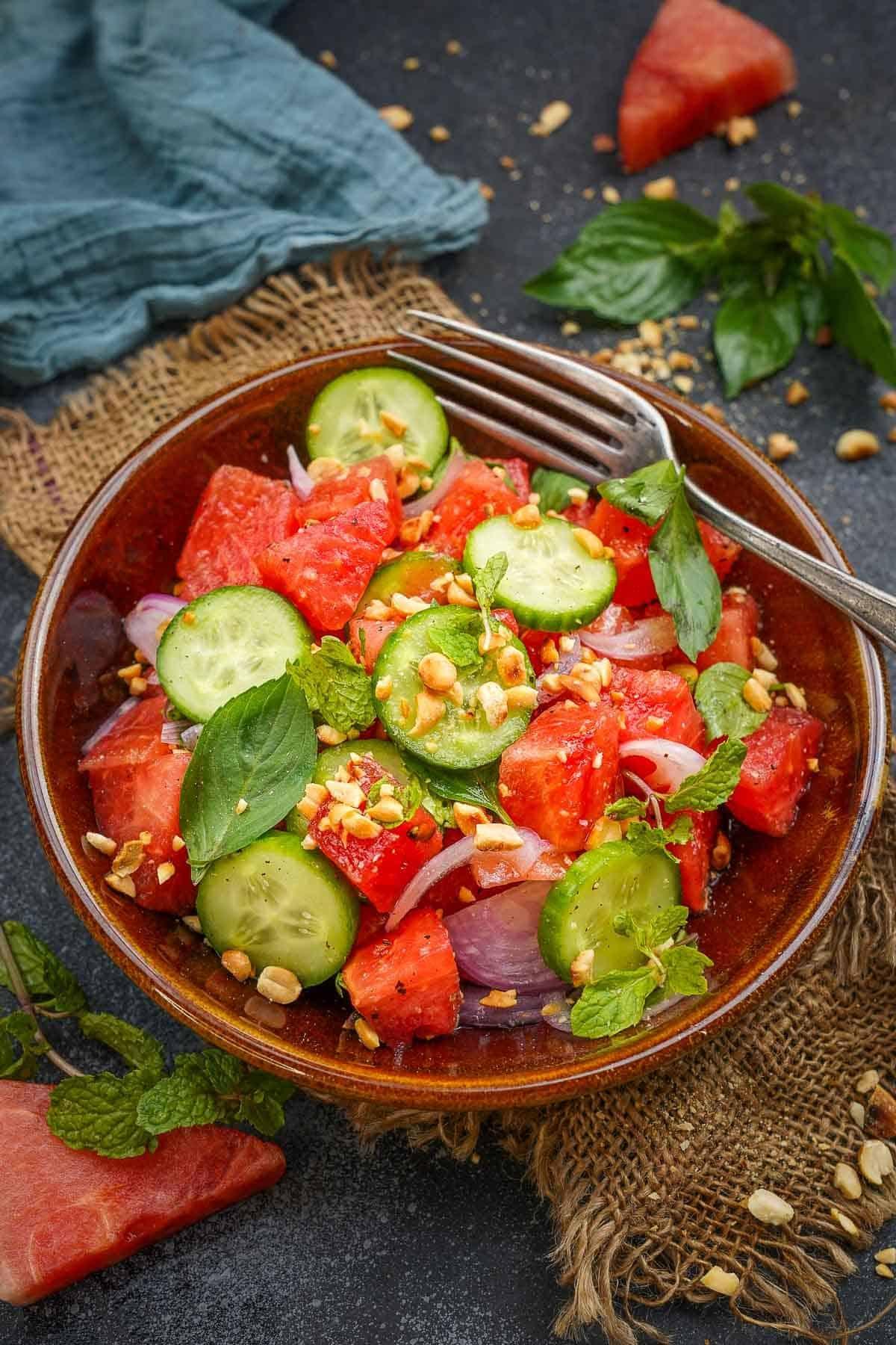 Thai Watermelon Salad served in a bowl.