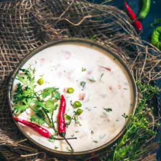 A refreshingly good way to beat the Indian summer, the coolness of curd coupled with the freshness of the vegetables makes this Tomato Onion raita simply divine