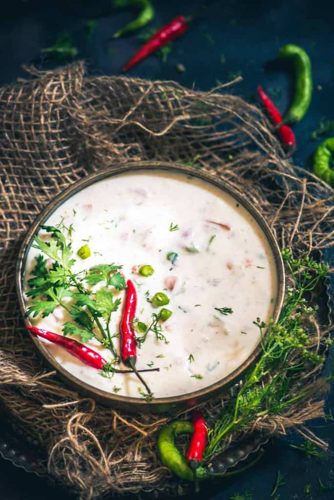 A refreshingly good way to beat the Indian summer, the coolness of curd coupled with the freshness of the vegetables makes this Tomato Onion raita recipe simply divine