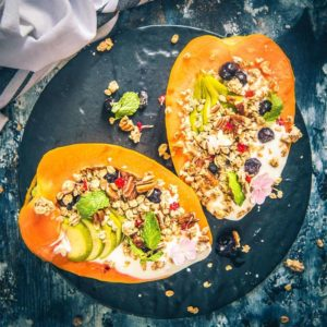 Papaya Boats is a healthy and delicious option for breakfast or snacks which looks irresistible as well. Eat the toppings and then scoop the papaya for a filling breakfast.