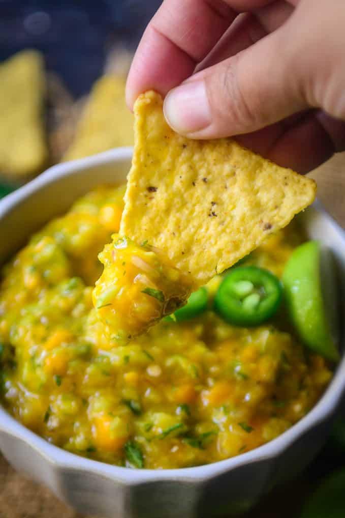 mango Cucumber salsa served with nachos.