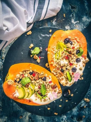 papaya boat recipe, healthy breakfast idea, papaya recipes, tropical papaya boat