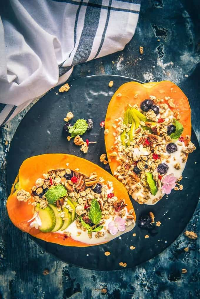 papaya boats recipe, healthy breakfast idea, papaya recipes, tropical papaya boat